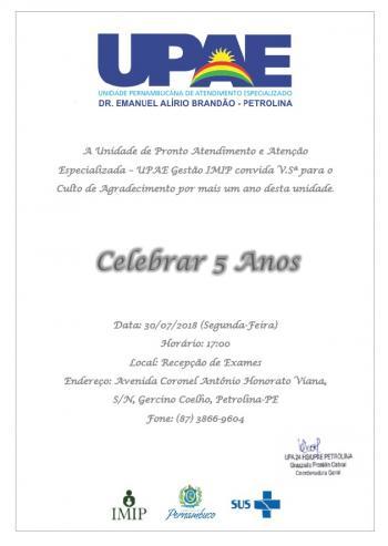 f6b7a5d4faf19 UPAE IMIP de Petrolina celebra seus 5 anos com Culto de Gratidão