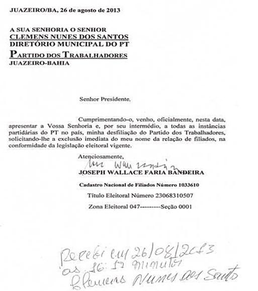 Blog Do Geraldo José Confira A Carta De Desfiliação De