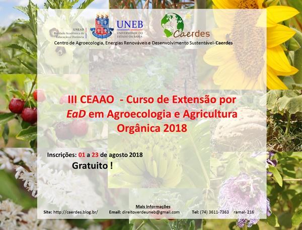Resultado de imagem para UNEB abre inscrições para o III Curso de Extensão em Agroecologia e Agricultura Orgânica