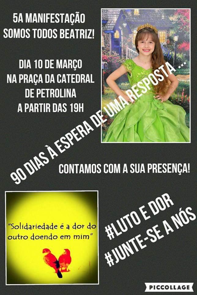 MANIFESTAÇÃO  EM PETROLINA PELO ASSASSINADO DE BEATRIZ, DE 7 ANOS.